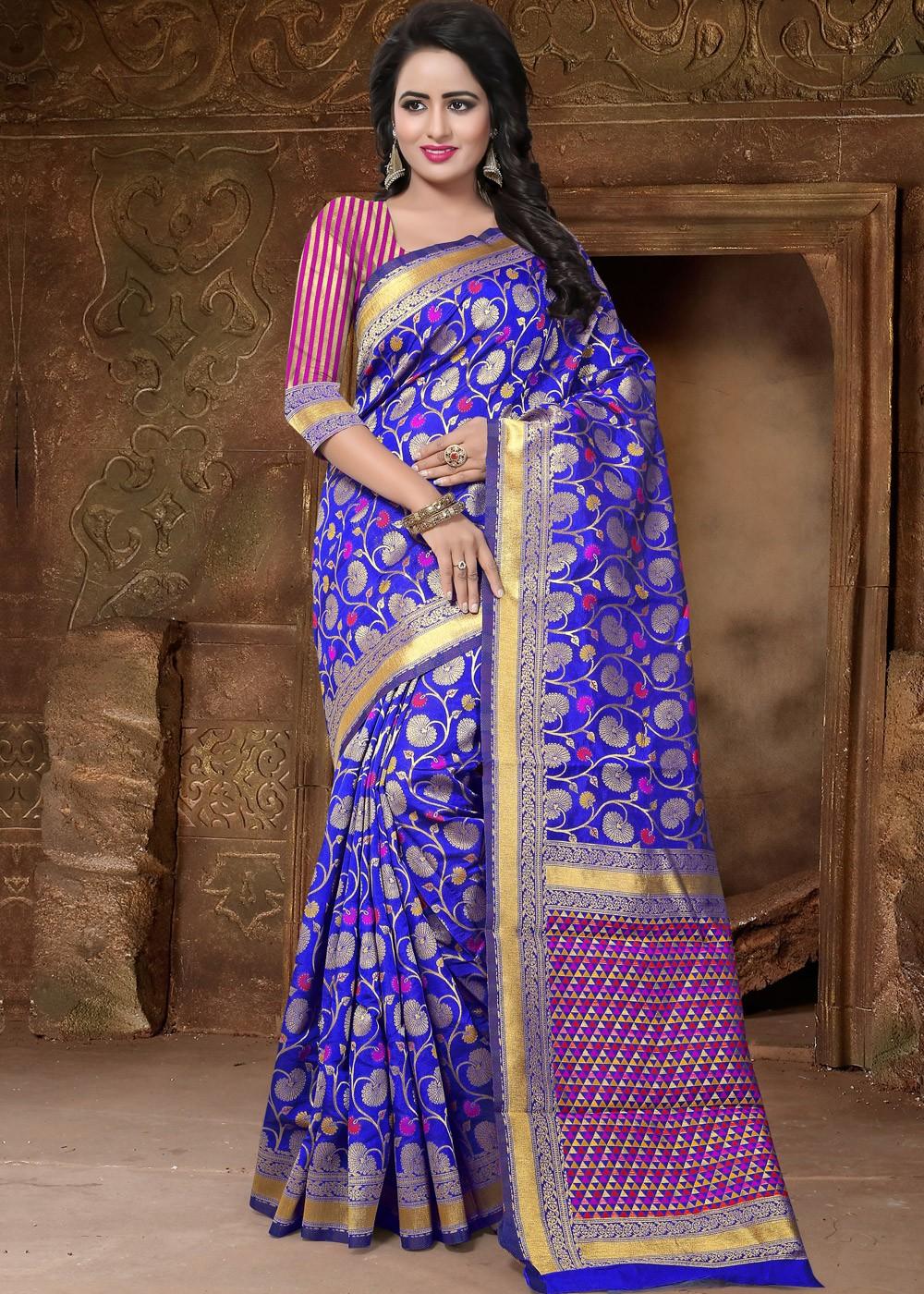 d74aec2ce9e76 Royal Blue Banarasi Silk Saree with Blouse. Tap to expand