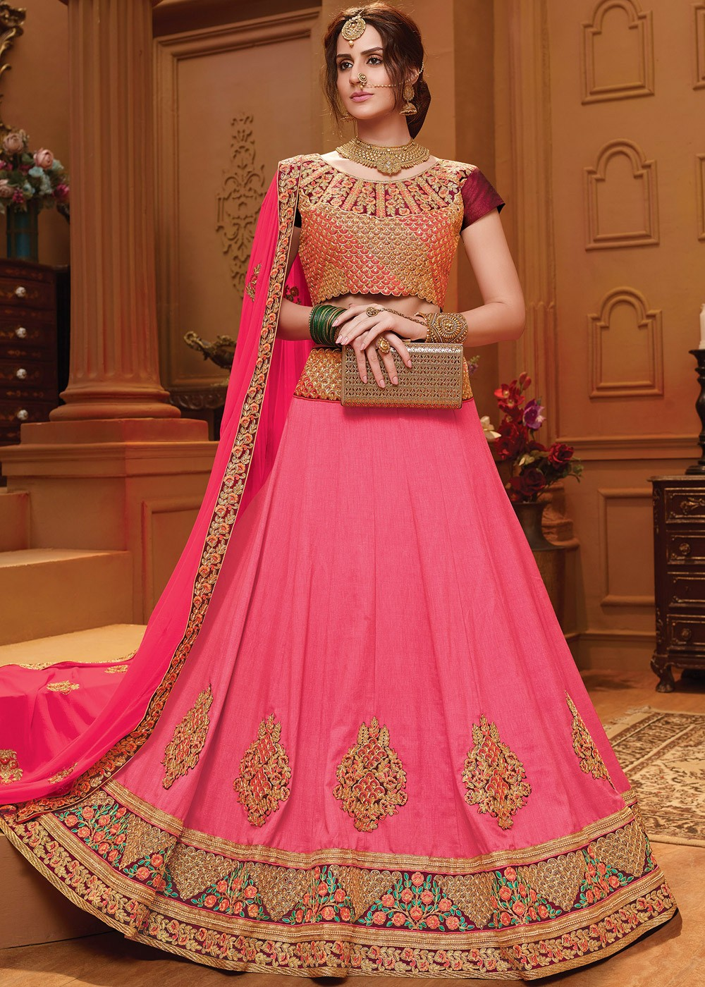 cffd81d10a Pink Art Silk Lehenga Choli With Dupatta. Tap to expand