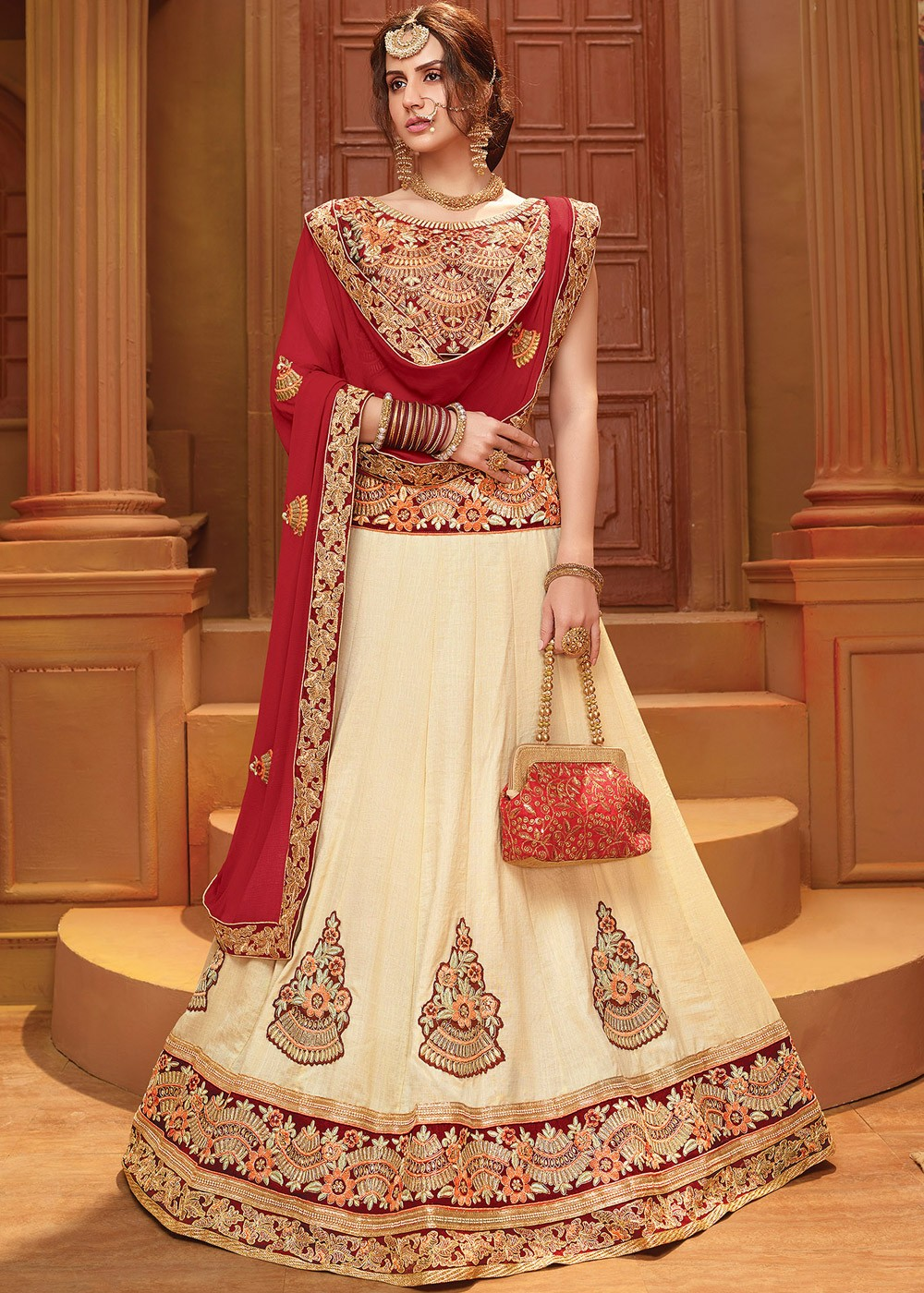 116ffa6d84 Tap to expand · Cream Art Silk Party Wear Lehenga Choli Online Shopping  With Dupatta in USA ...