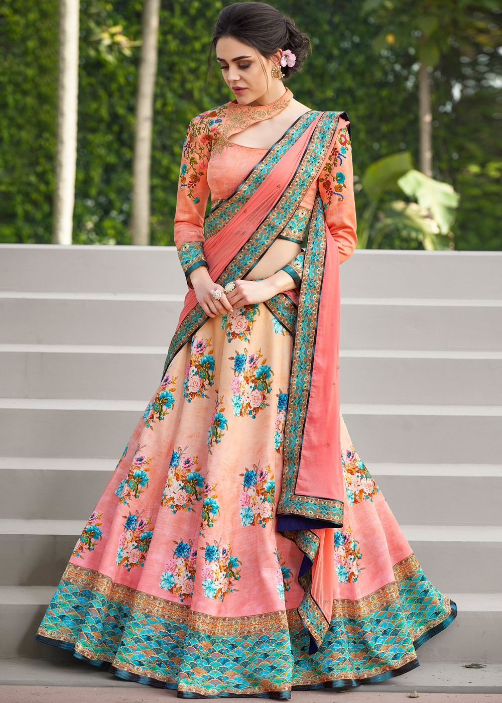 6b1d5fb1b88 Peach Floral Printed Satin Silk Lehenga Choli
