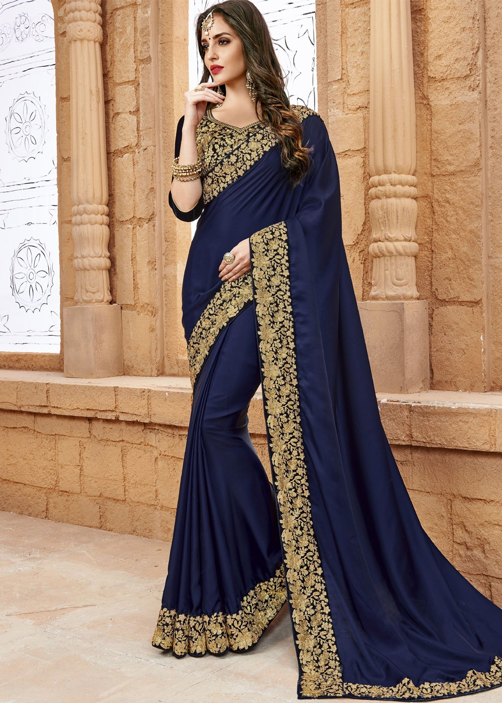 India Online Internet Use In India And The Development Of: Navy Blue Crepe Saree With Blouse Most Loved Styles 1694SR09