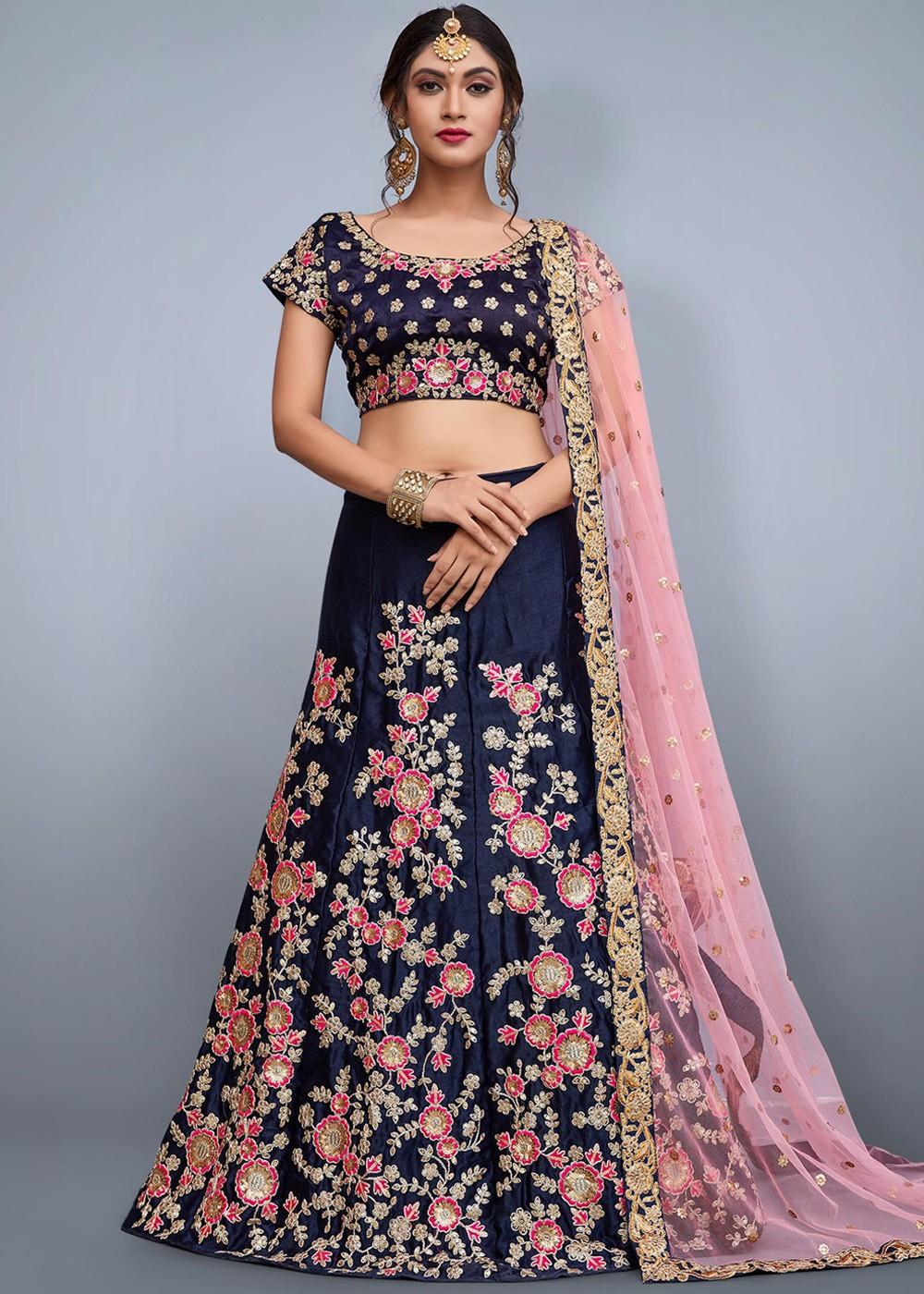 e8fe84dc340d7 Navy Blue Embroidered Art Silk Lehenga Choli Most Loved Styles 1718LG01