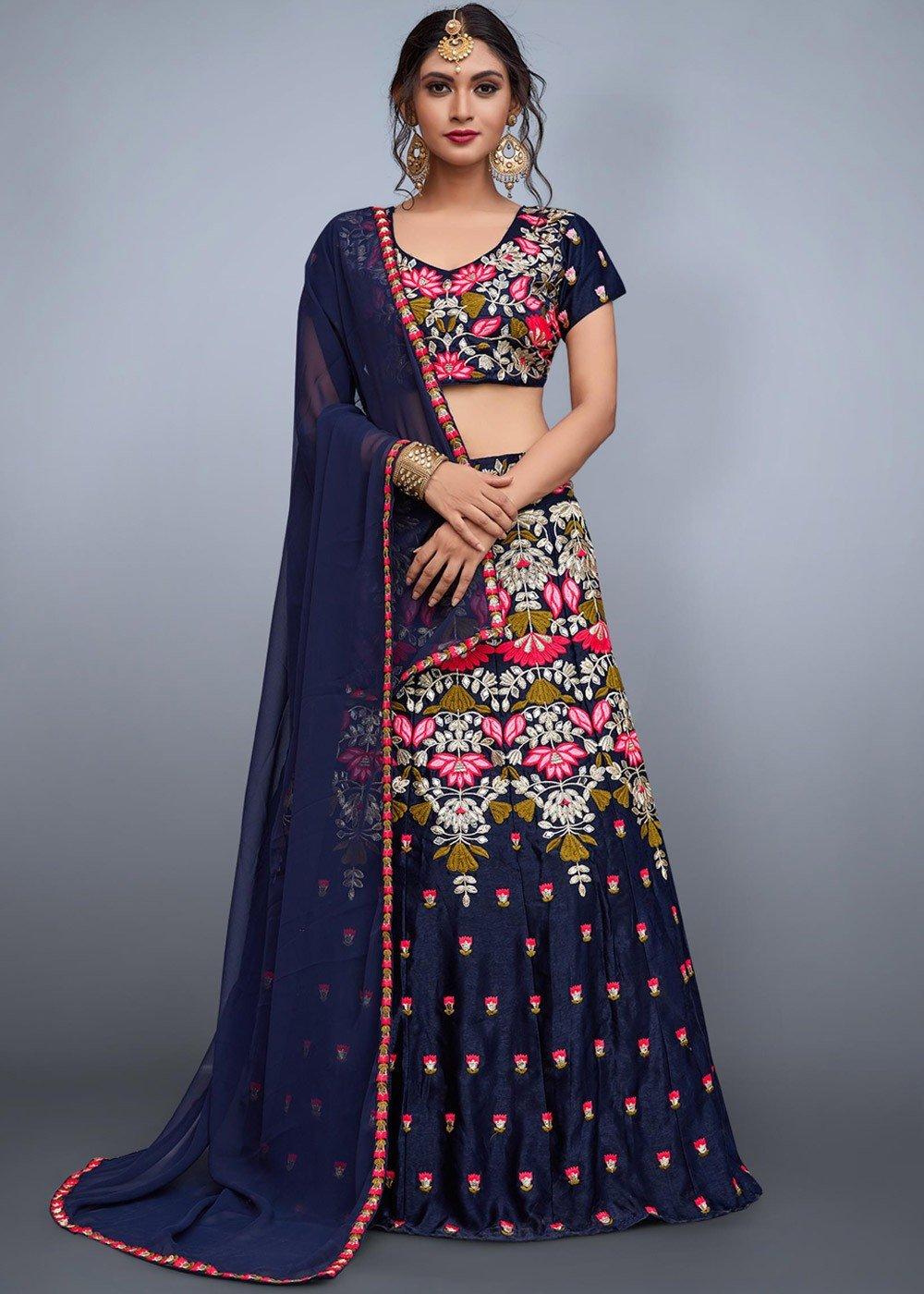 b9400d26fa6b0 Navy Blue Embroidered Art Silk Lehenga Choli Lehenga 1718LG03