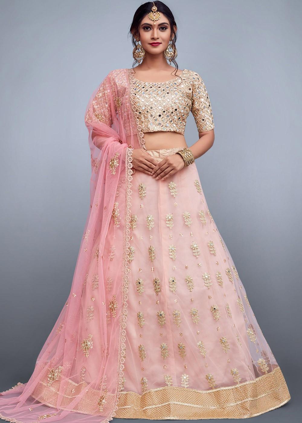 29909792cd Mirror Work Lehenga: Buy Baby Pink Embroidered Net Lehenga Choli Online ...