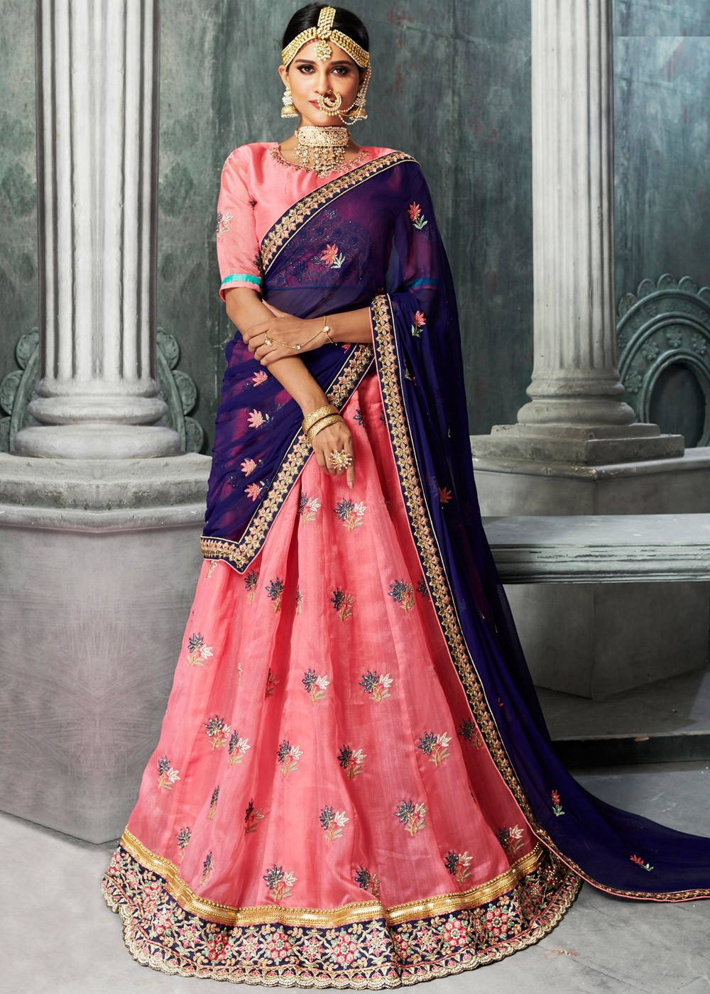 37fe4d8d57692 Pink Embroidered Organza Silk Lehenga Choli. Tap to expand