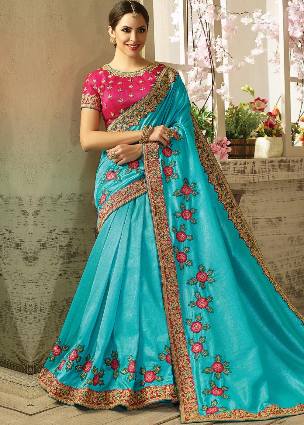 Brand-new Blue Silk Saree with Embroidered Blouse Saree 1749SR08 SH47