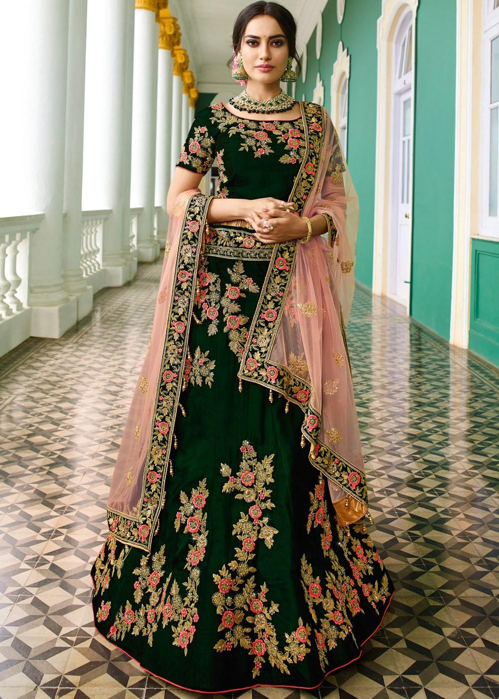 Surbhi Jyoti Dark Green Lehenga Choli Lehenga 1758LG05