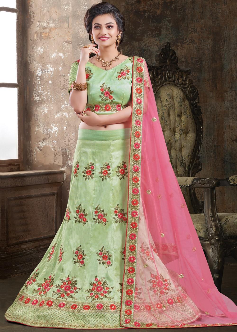 619bdf9305 Light Green Embroidered Lehenga Choli 1764LG16
