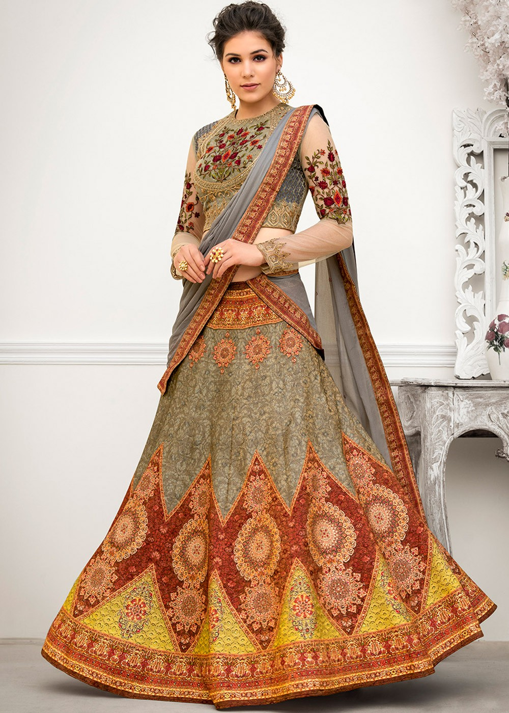 2b4d31b22c Grey Digital Printed Art Silk Lehenga Choli. Tap to expand