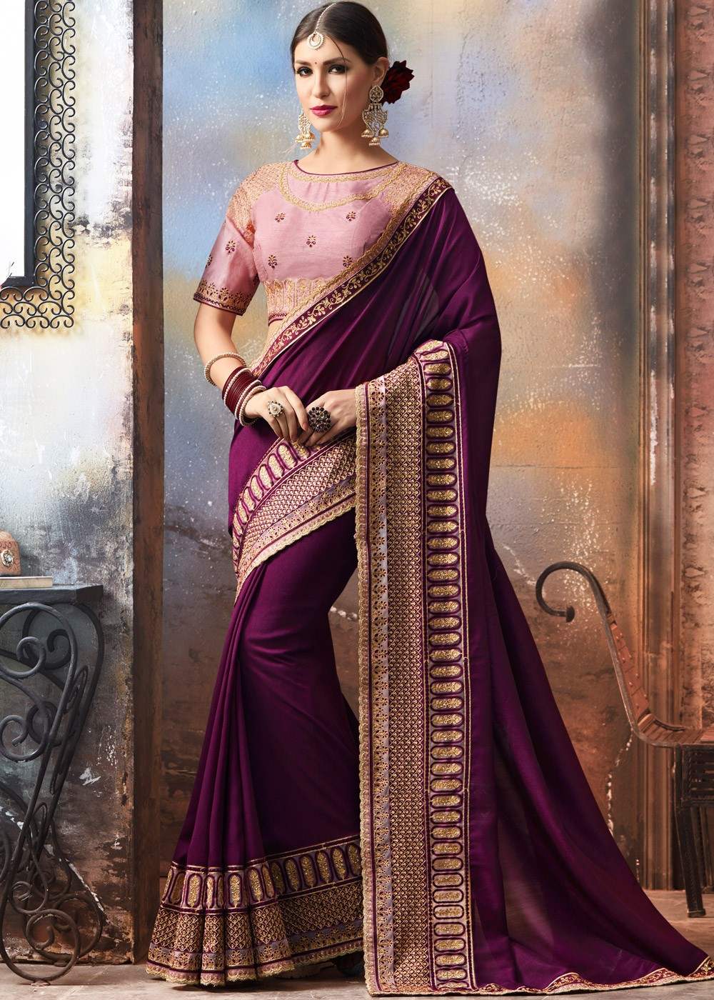 4f271cbcce537b Purple Georgette Saree with Raw Silk Blouse Saree 1804SR09