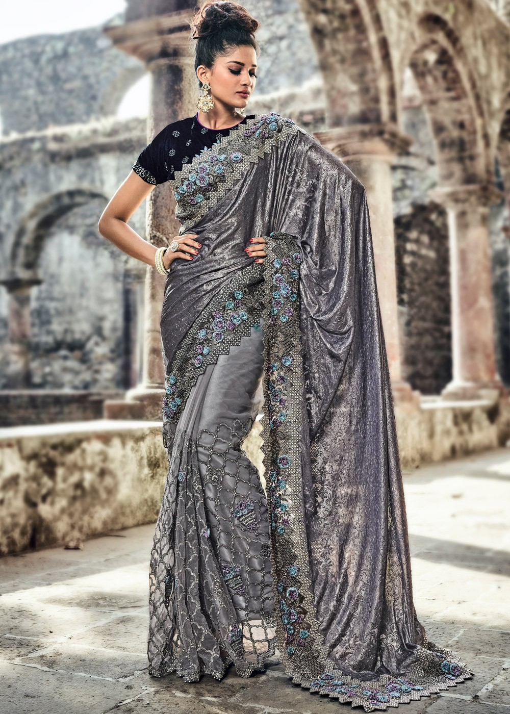 Grey Half N Half Style Saree With Blouse Saree 1805sr12