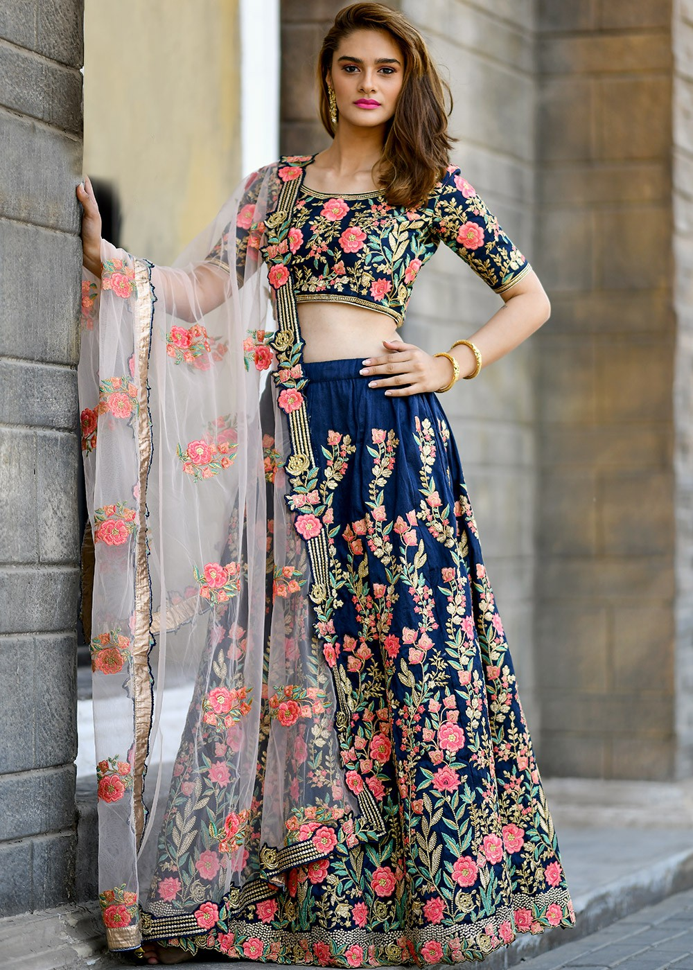 68a6f7ad0e Navy Blue Embroidered Silk Lehenga Choli Lehenga 1810LG05