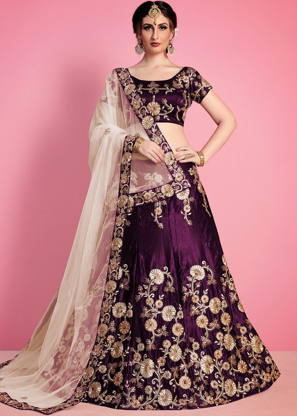 Purple Color Designer Party Wedding Wear Heavy Embroidery Kundan Work Lehenga