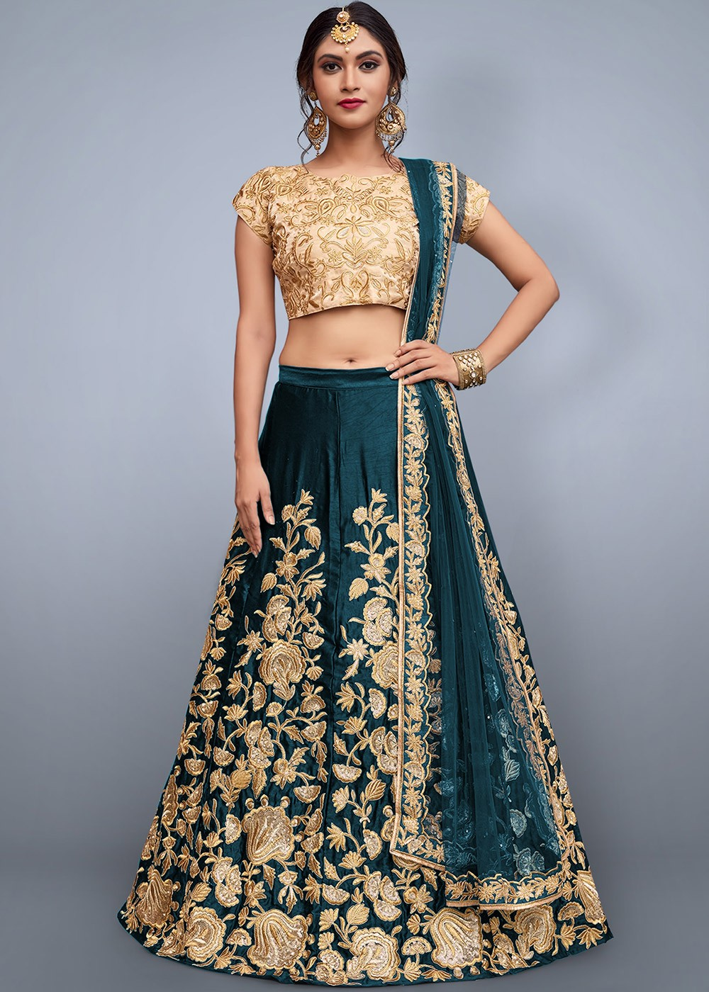58d210c081 Buy Teal Green Embroidered Indian Bridal Lengha Choli Online USA ...