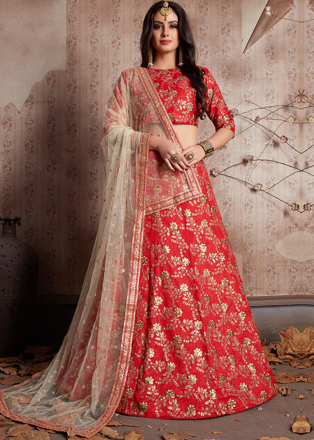 b57a2f5c38 Tap to expand · Coral Red Embroidered Designer Bridal Lehenga Choli Online  Shopping USA ...