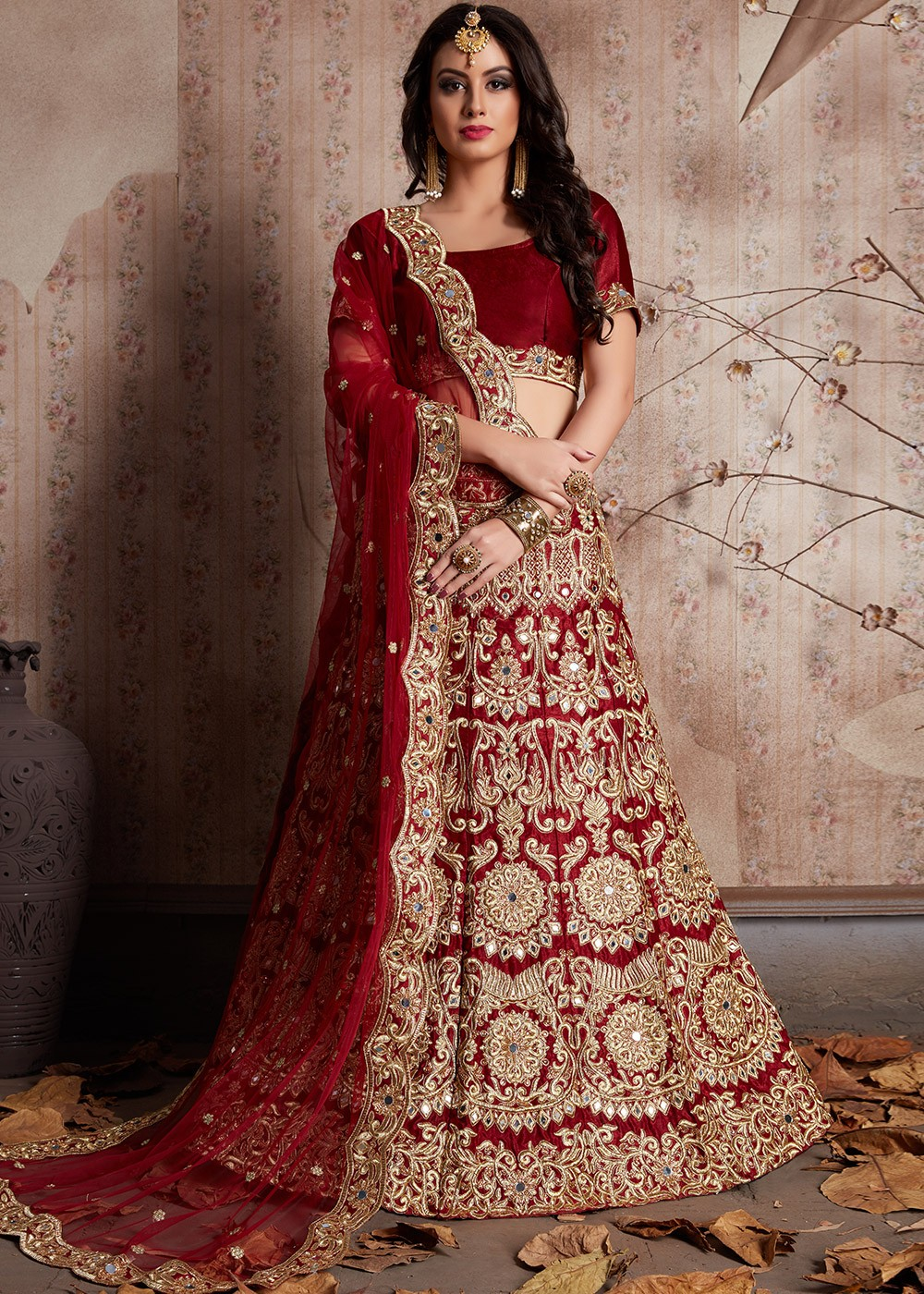 bd765784be4fd Maroon Heavy Embroidered Indian Bridal Lehenga Online Shopping in USA ...