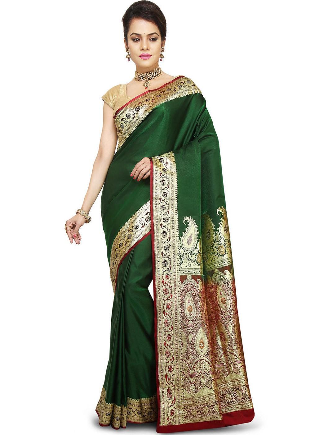 883e42509b Dark Green Woven Pure Banarasi Handloom Silk Saree 1824SR18