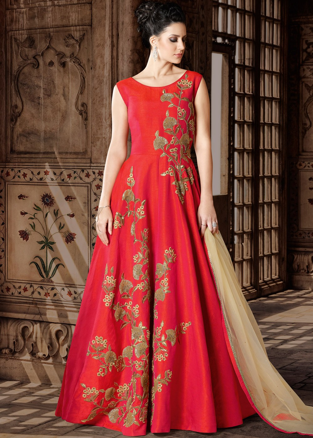 e6ad99b233 Red Art Silk Anarkali Suit with Dupatta. Tap to expand
