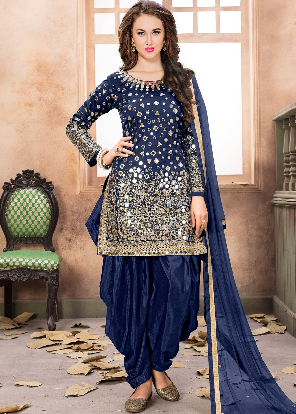 75b775185b8 Navy Blue Art Silk Punjabi Salwar Suit with Dupatta Most Loved ...