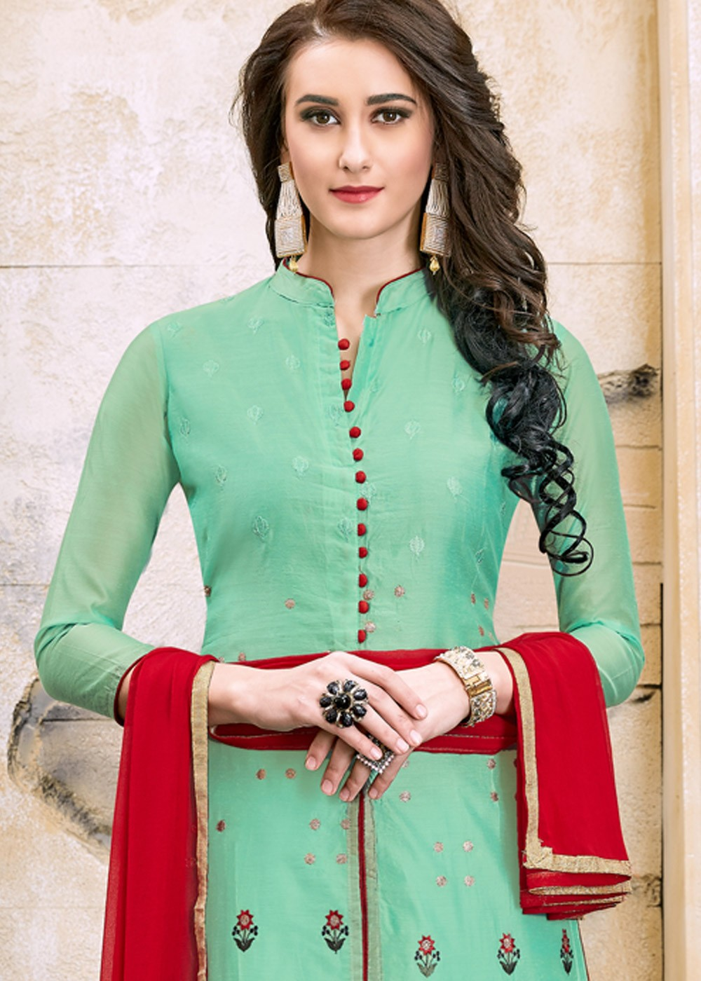 fa206e2fb6 Mint Green Straight Cut Embroidered Salwar Suit with Dupatta 1852SL09