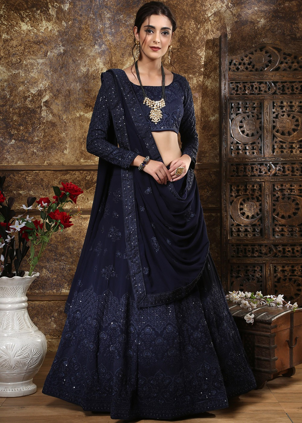 Navy Blue Chikankari Embroidered Lehenga Choli Latest 1914LG01
