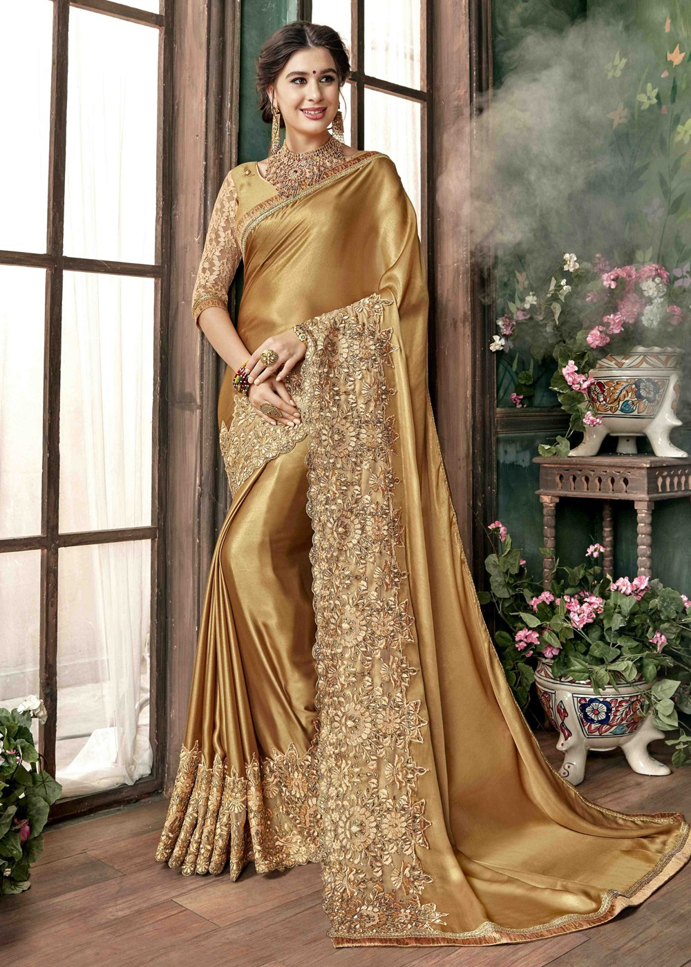 015dbebf0e Golden Embroidered Georgette Saree. Buy Golden Embroidered Georgette Indian  Sarees Collection online USA. Tap to expand