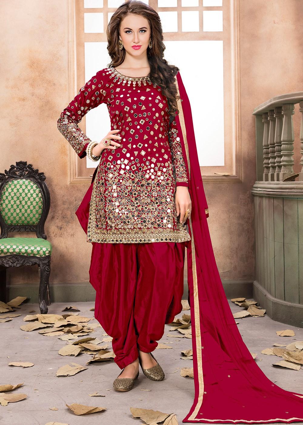 872cc38505 Red Art Silk Punjabi Salwar Suit With Dupatta. Indian Salwar Kameez - Buy  Red Art Silk Punjabi Suits Shopping Online With Dupatta USA