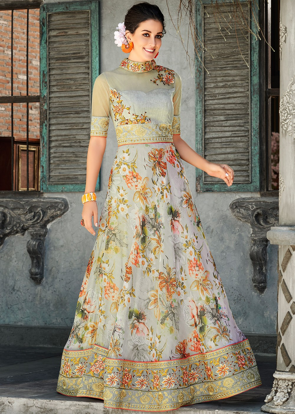 2126c8d83 Grey Floral Digital Print Organza Silk Readymade Gown. Buy Grey Floral  Digital Print Organza Silk Readymade Indian Gown Online