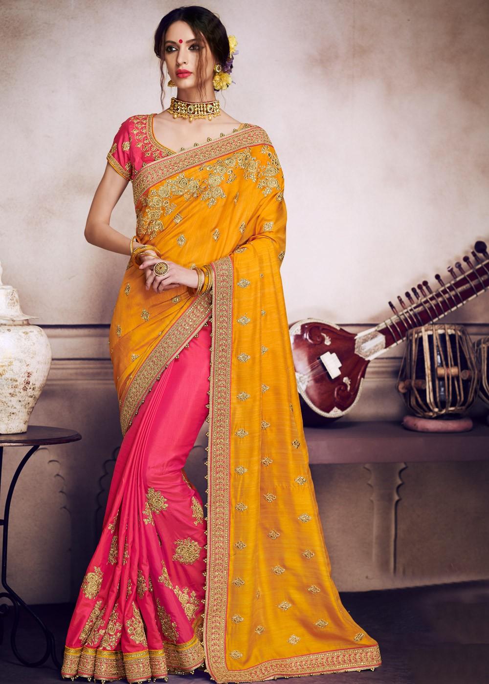 5cf8fa41888714 Yellow Pink Half N Half Satin Art Silk Saree Saree 1957SR02
