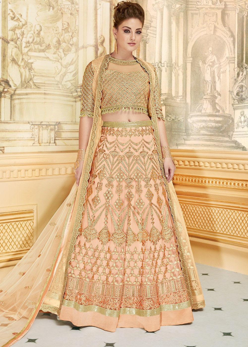 Peach Net Embroidered Lehenga Choli With Jacket Most Loved Styles