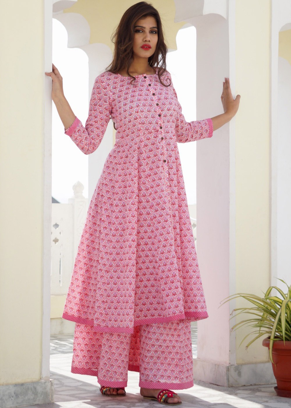 Indo Western Dresses - Readymade Pink Block Printed Cotton Kalidar and  Pakistani Sharara Suits ... 8e50d7359