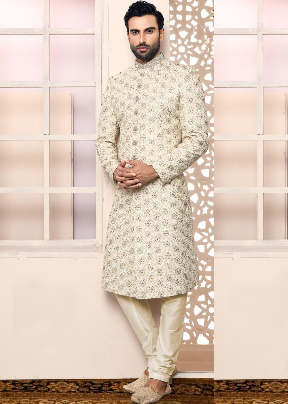 62eae20f25 Buy Off-White Embroidered Art Silk Indian Wedding Sherwani for Groom ...