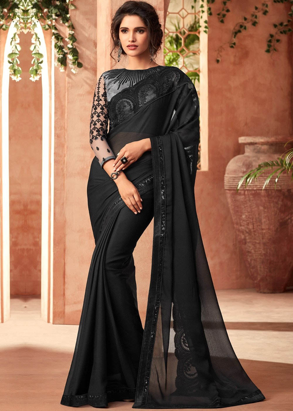 c79cc7e7aa549c Tap to expand · Black Embroidered Online Chiffon Saree Online Shopping ...