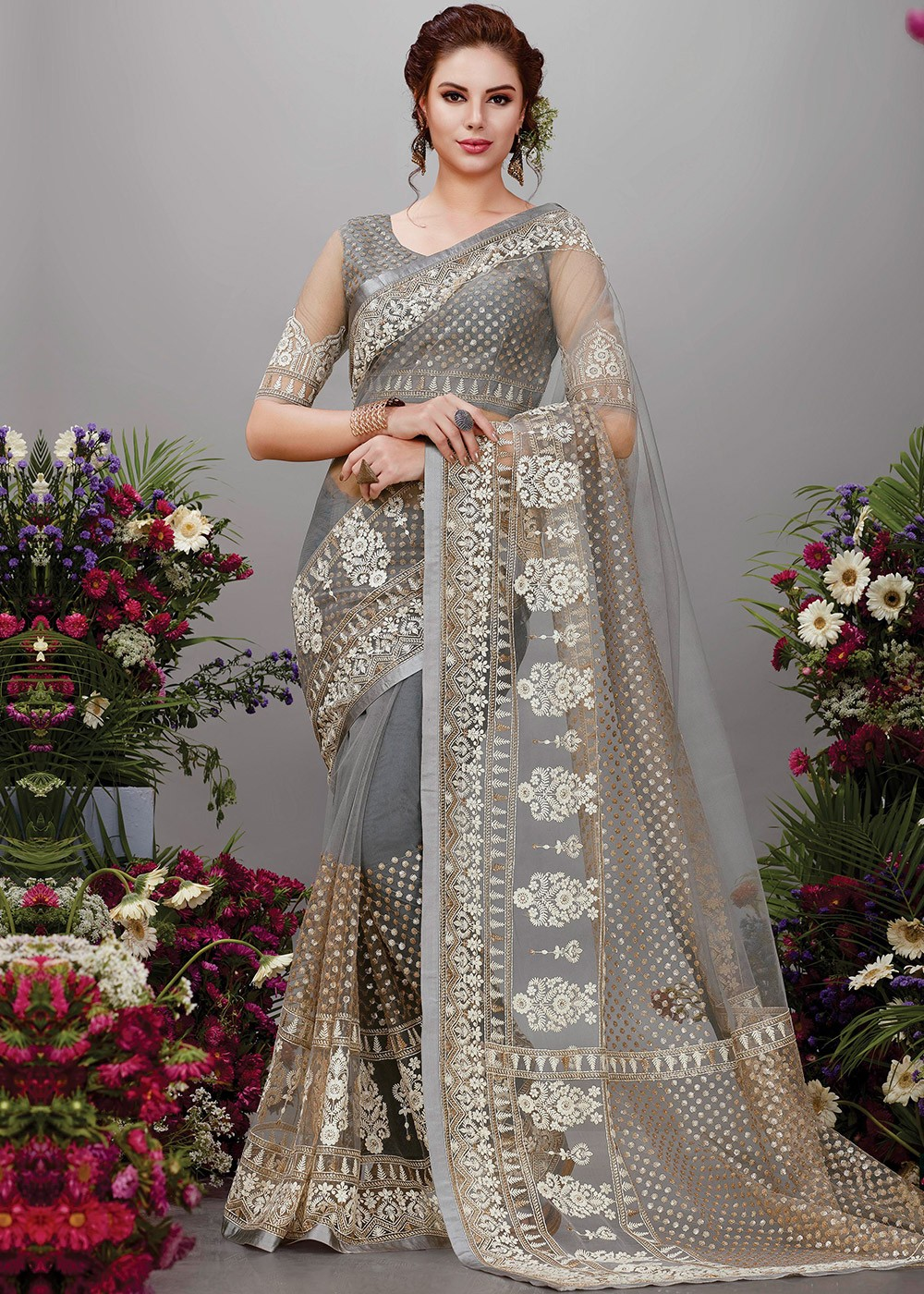 Grey Net Embroidered Saree With Blouse Saree 2100sr02