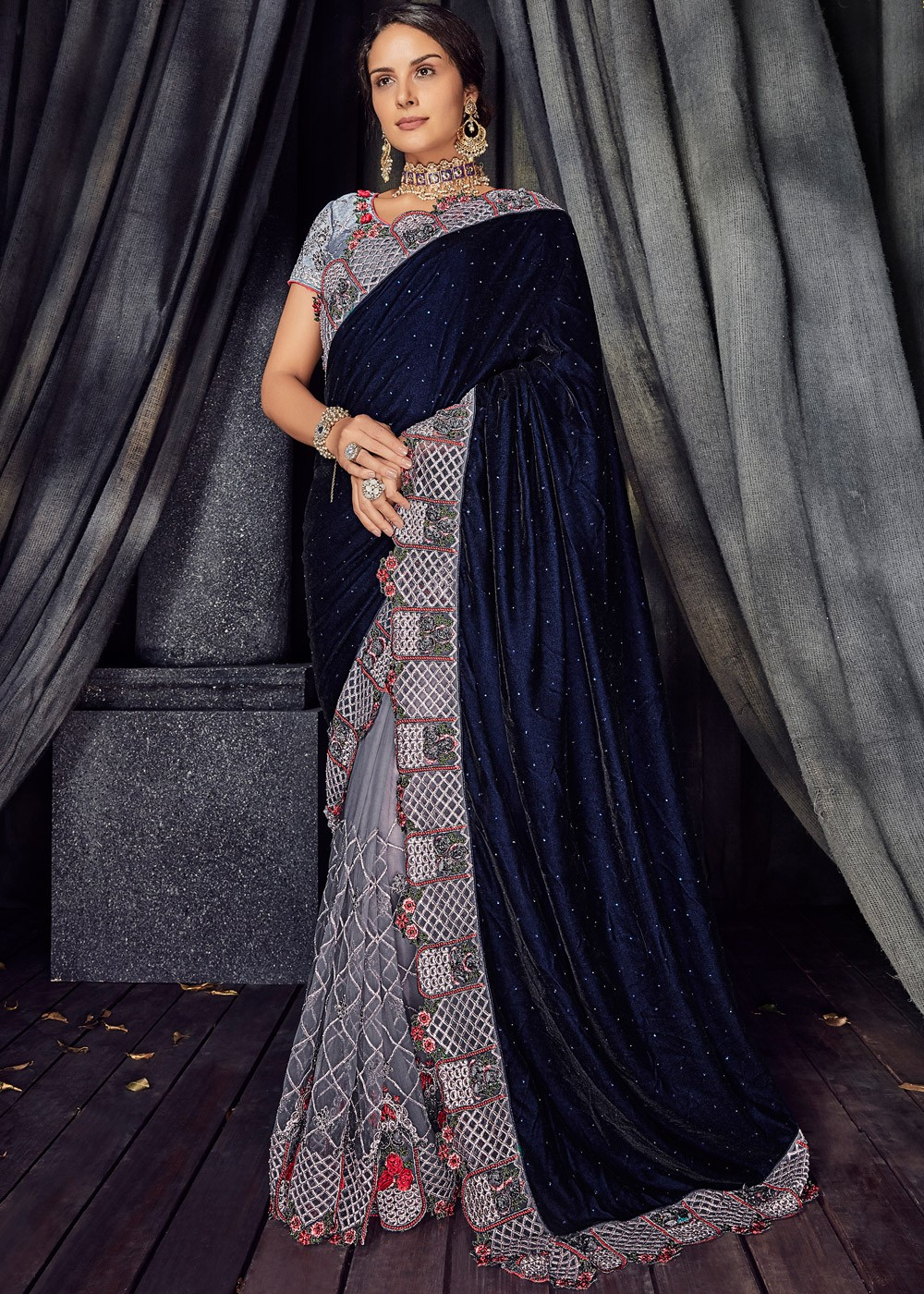 Grey And Blue Embroidered Net Velvet Saree