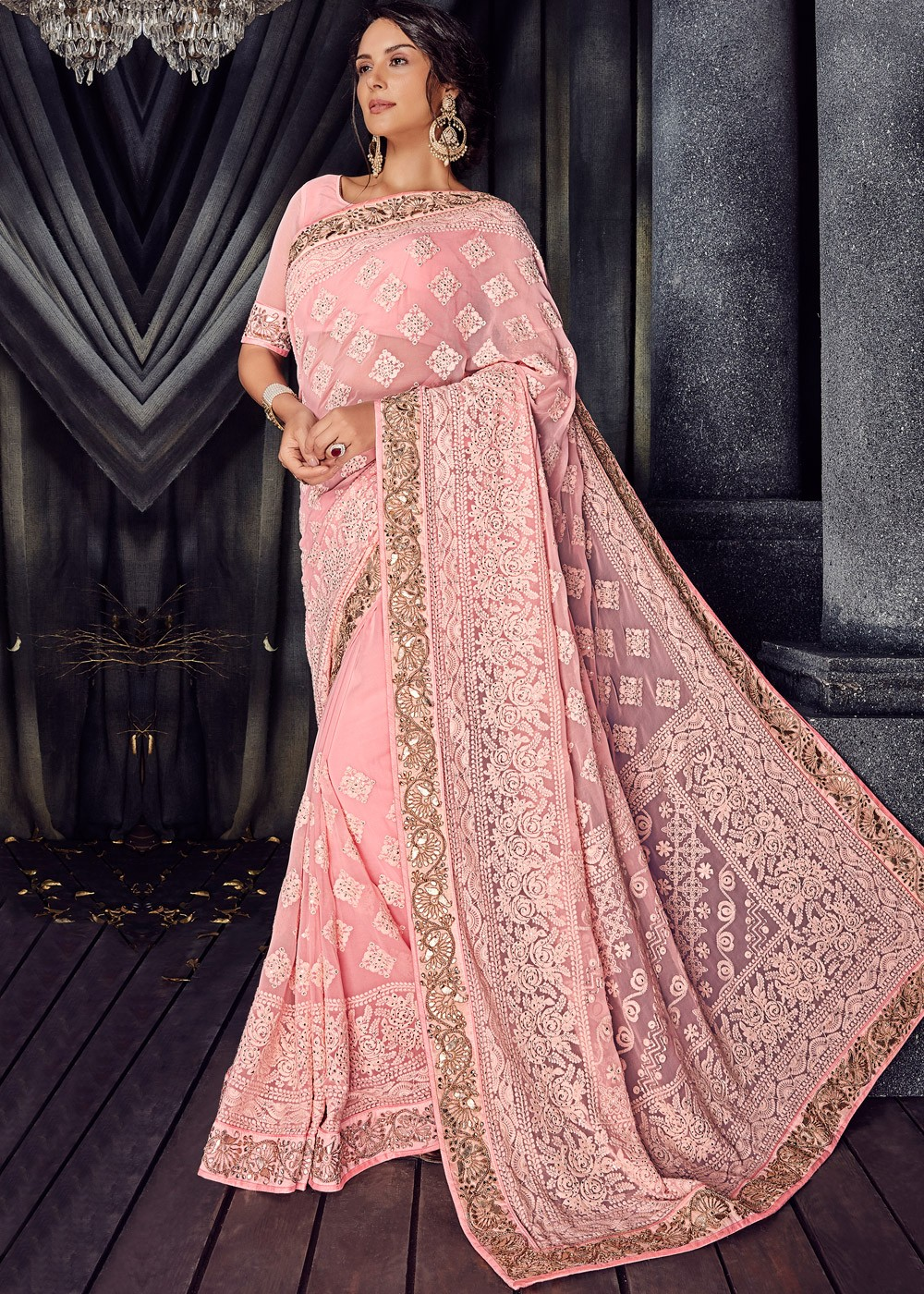 3a79c85d91 Light Pink Embroidered Georgette Saree 2121SR11