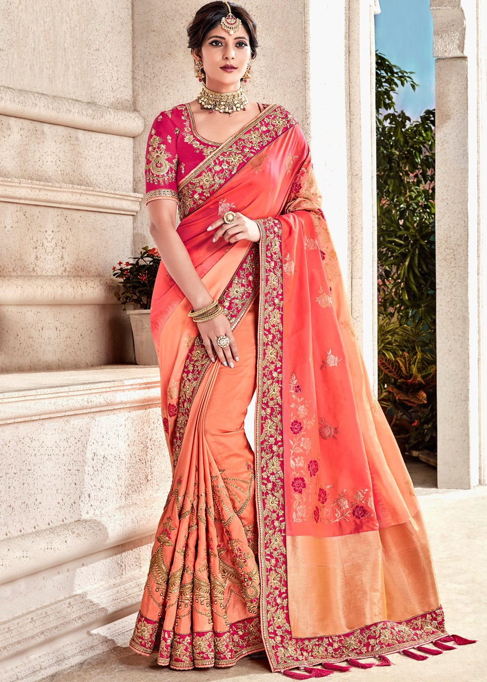 b8c2db6520 Shaded Peach Embroidered Art Silk Saree. Touch to zoom