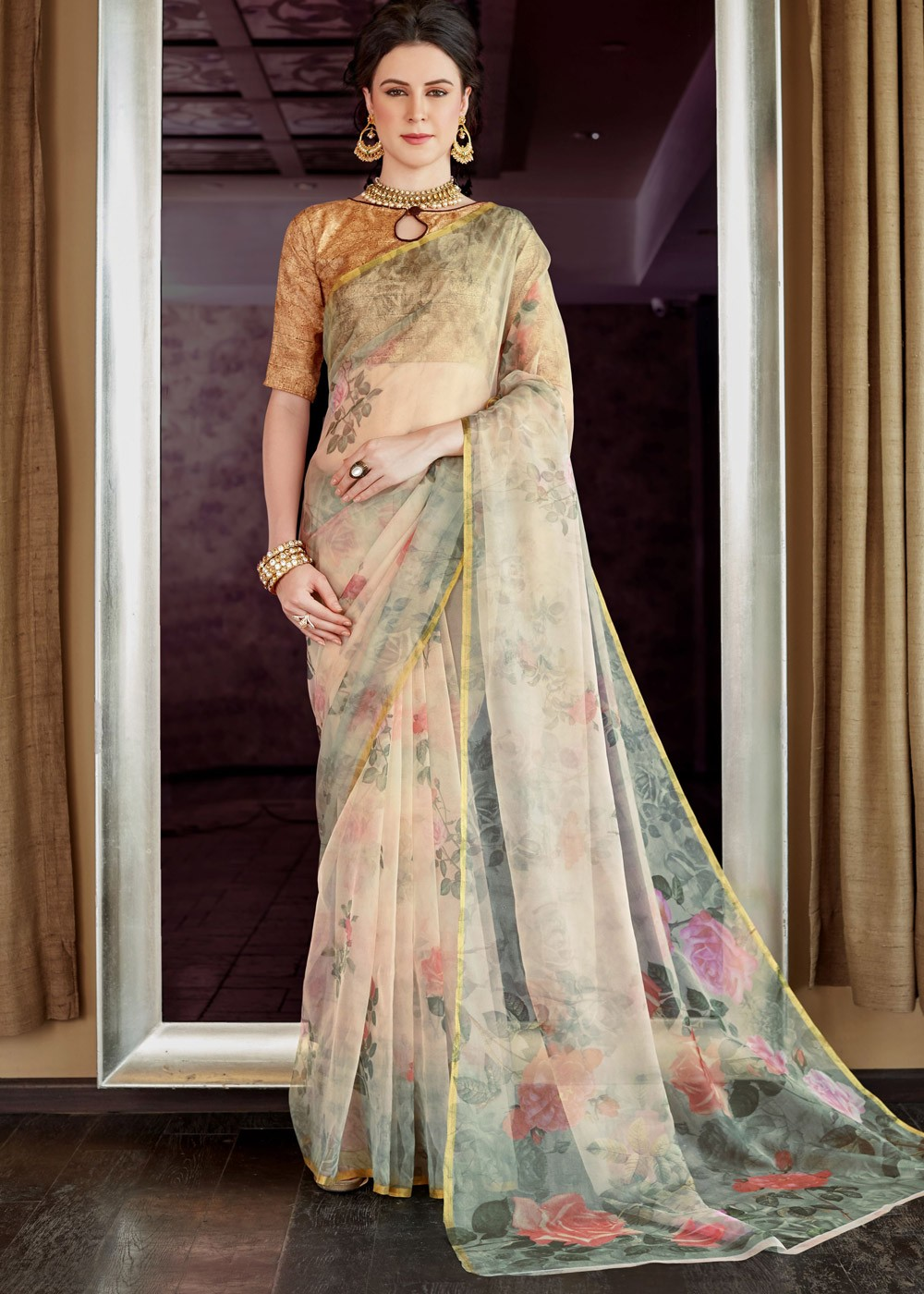 34bd796474526d Tap to expand · Cream Floral Printed Organza Silk Indian Saree online  Shopping ...