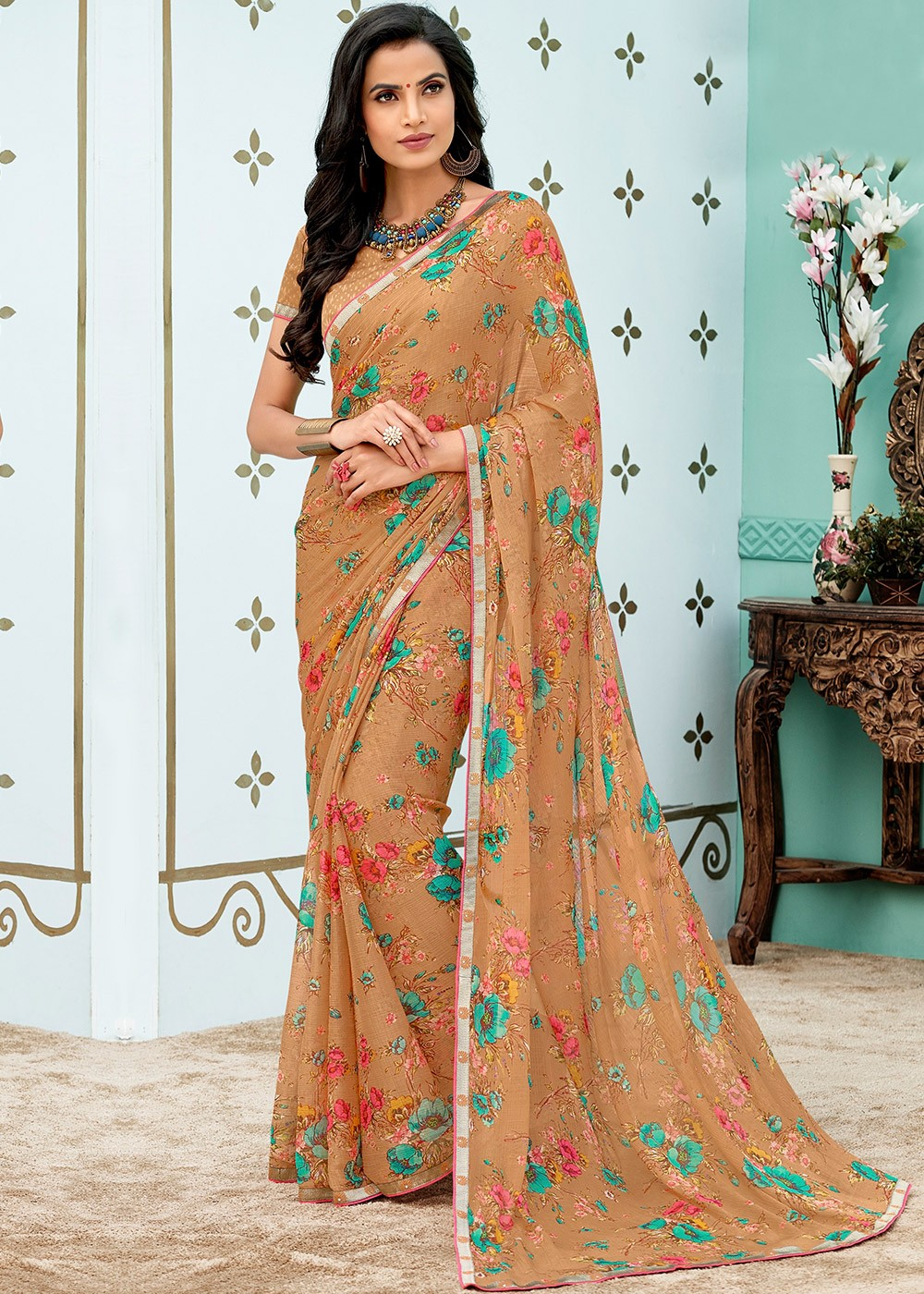 565641656dc9eb Beige Chiffon Floral Printed Saree. Tap to expand