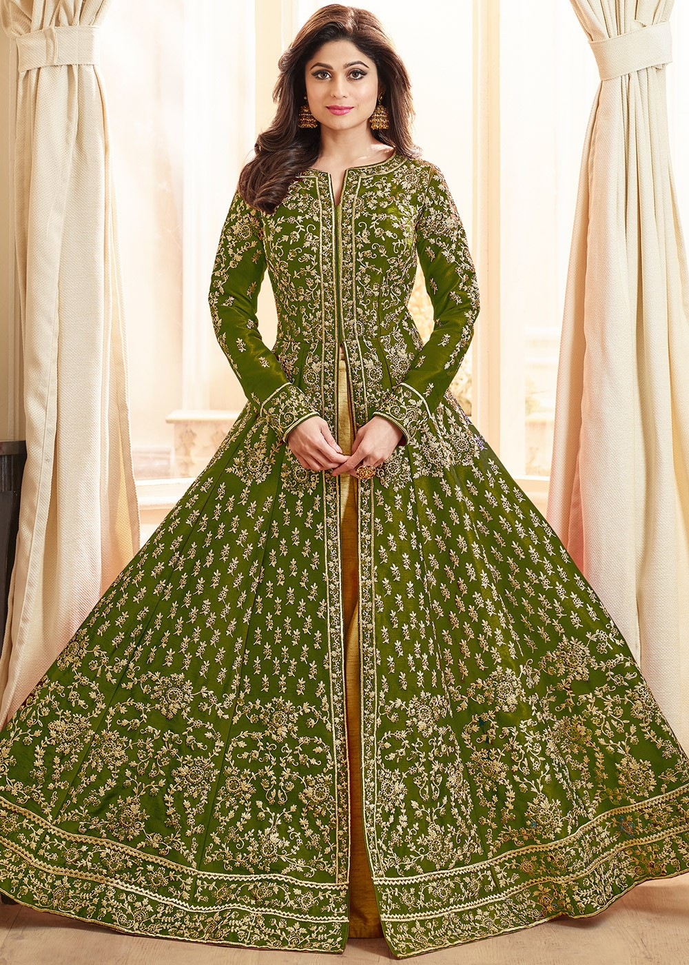 Shamita Shetty Green Kurti Style Lehenga Choli Latest 2276lg07