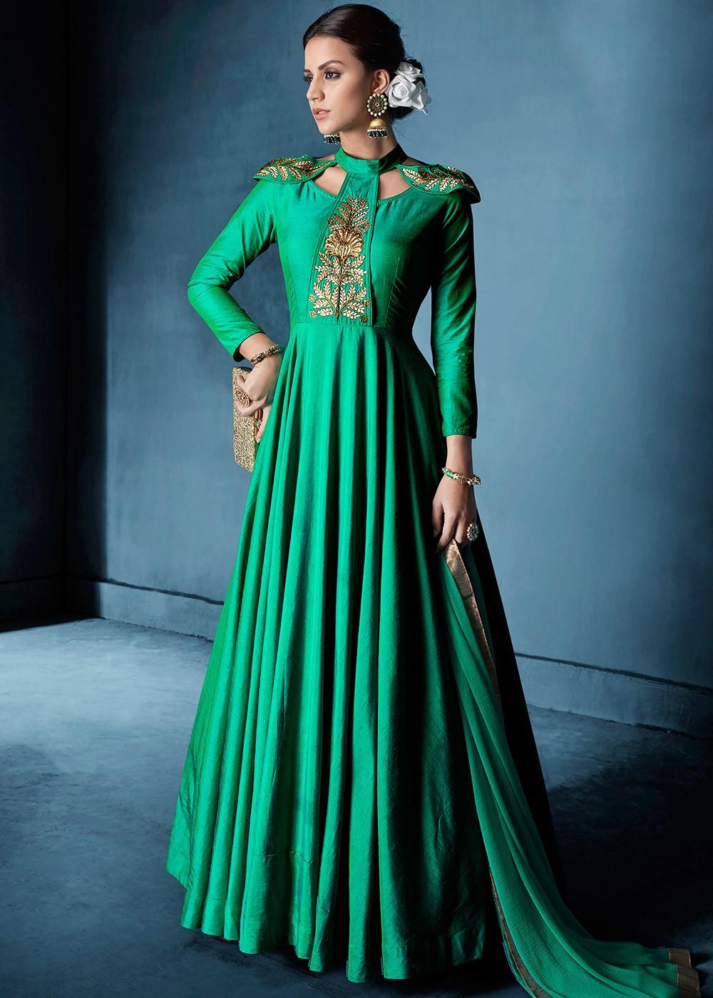 2986de343d Green Art Silk Gown Style Salwar Kameez 2278SL02