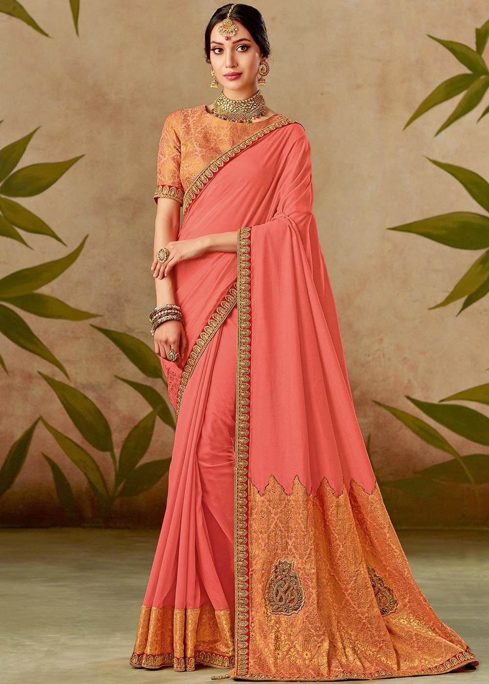 2309745dea Coral Peach Art Silk Saree With Blouse 2314SR15