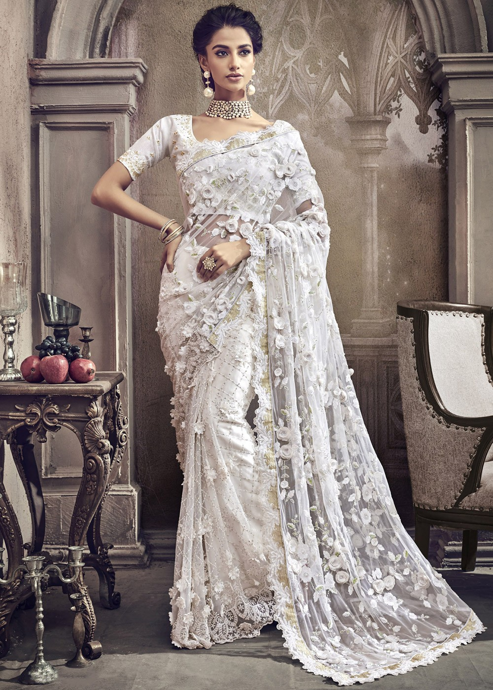 be1df9233c Indian Dresses: Buy White Net Embroidered Indian Saree Online USA ...