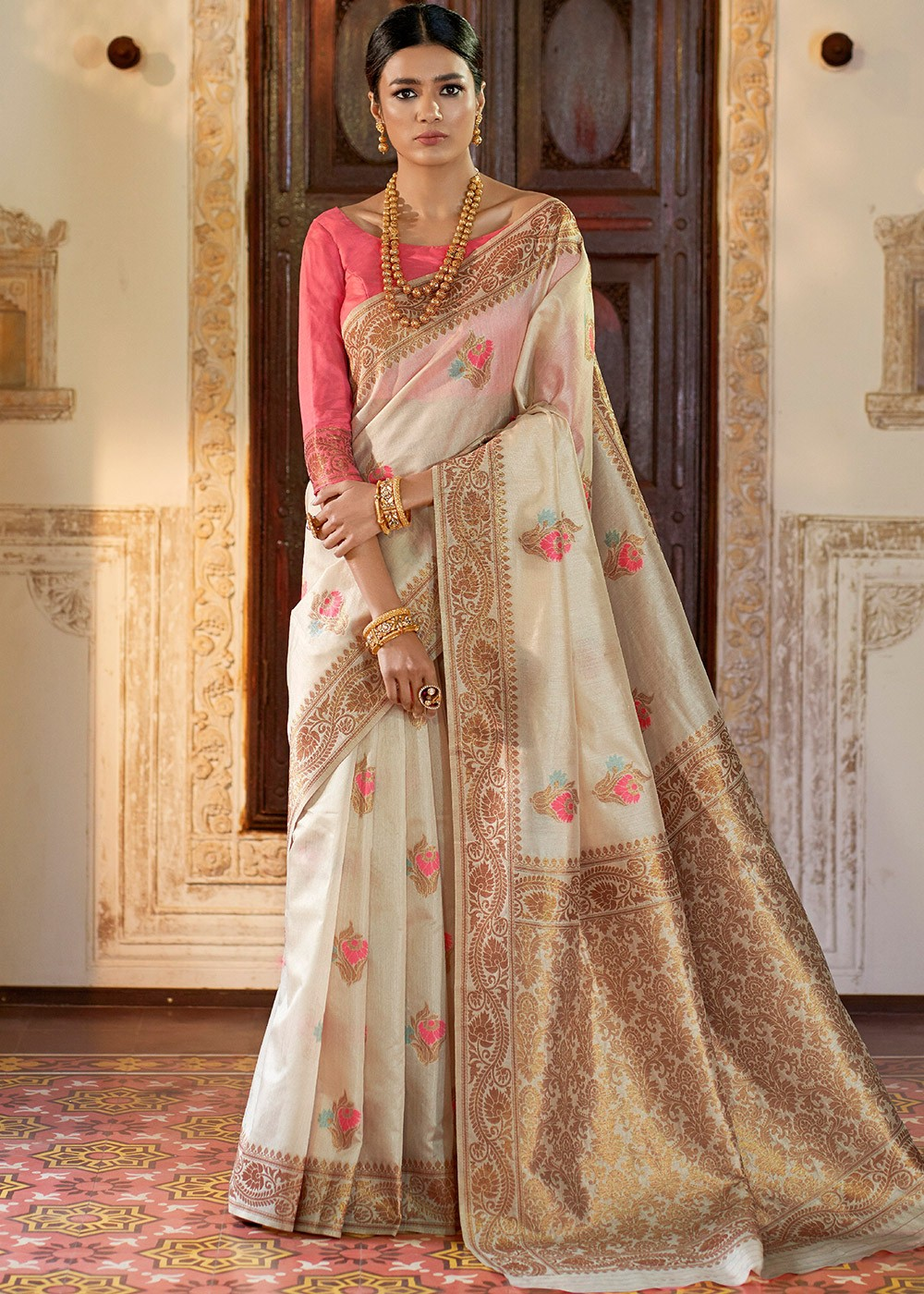 02bba2c610 Off-White Woven Art Silk Indian Saree Online Shopping in USA ...
