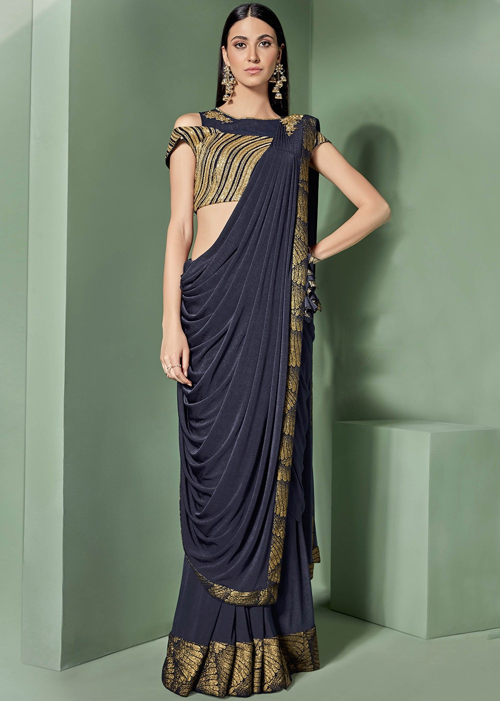sequence blouse Georgette saree fancy blouse black blouse saree blouse gold foil patti saree yellow saree