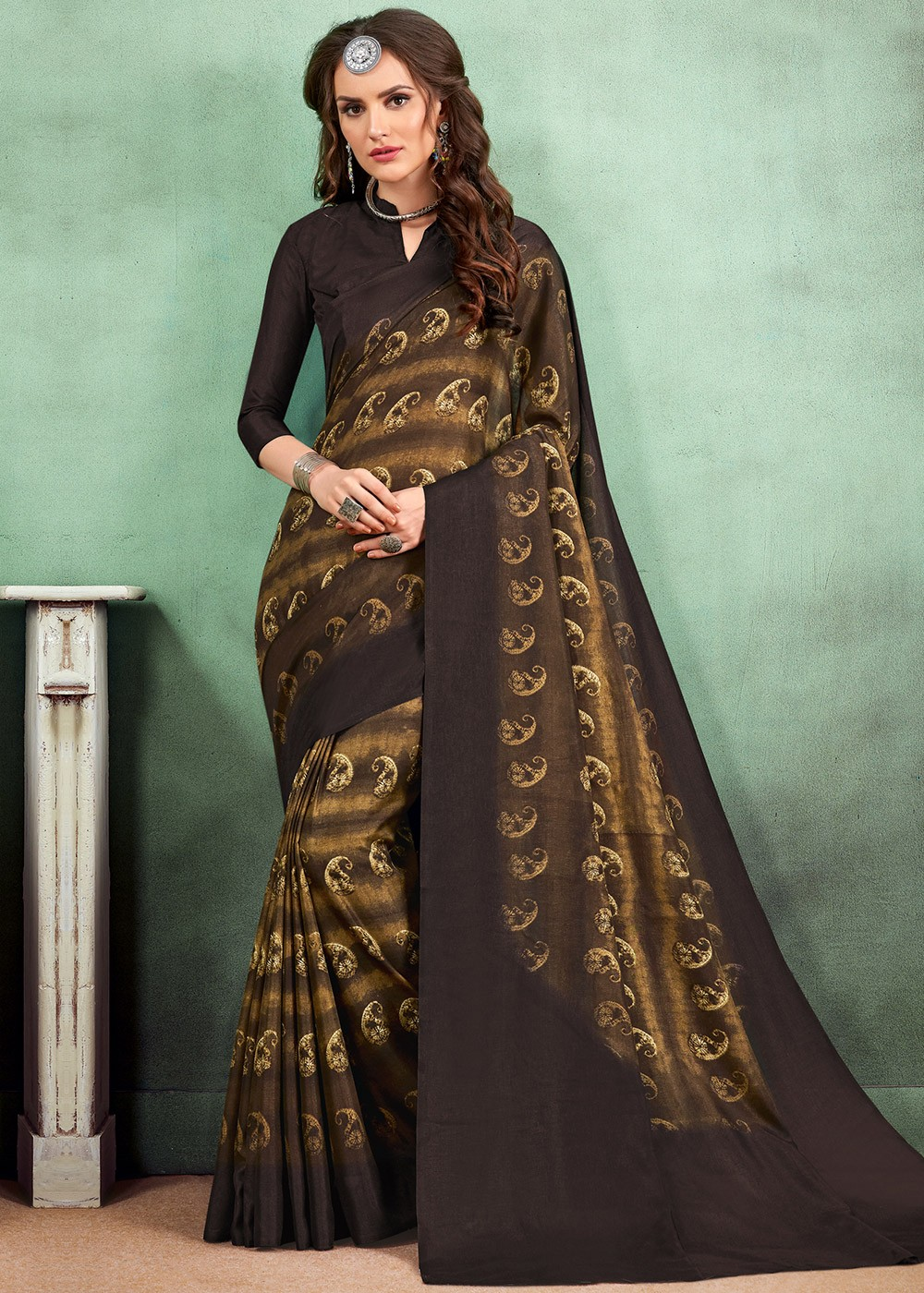 bf8ce215b347b3 Brown And Black Digital Printed Art Silk Saree. Tap to expand