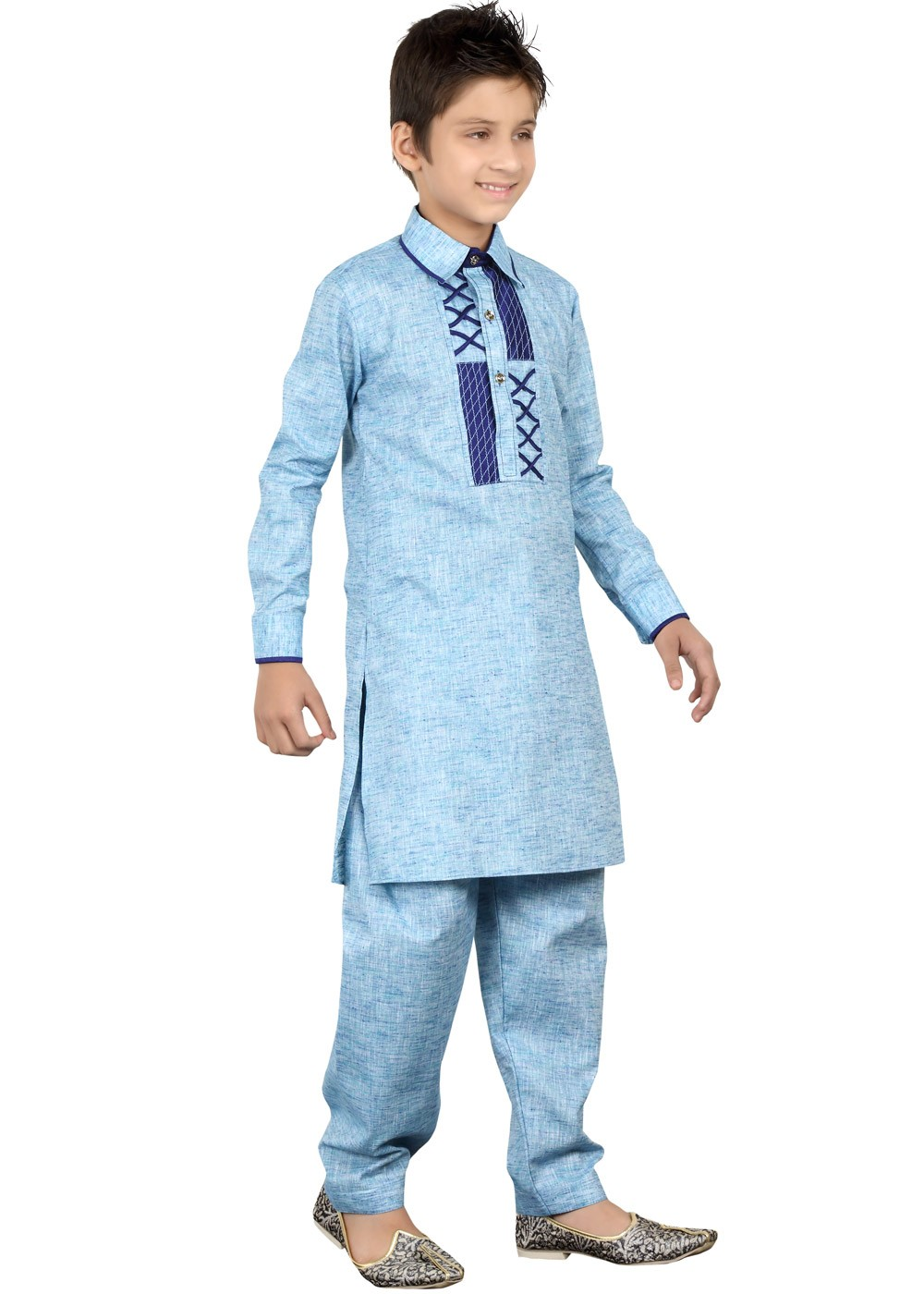Readymade Blue Kids Linen Pathani Suit Kids 148KW07