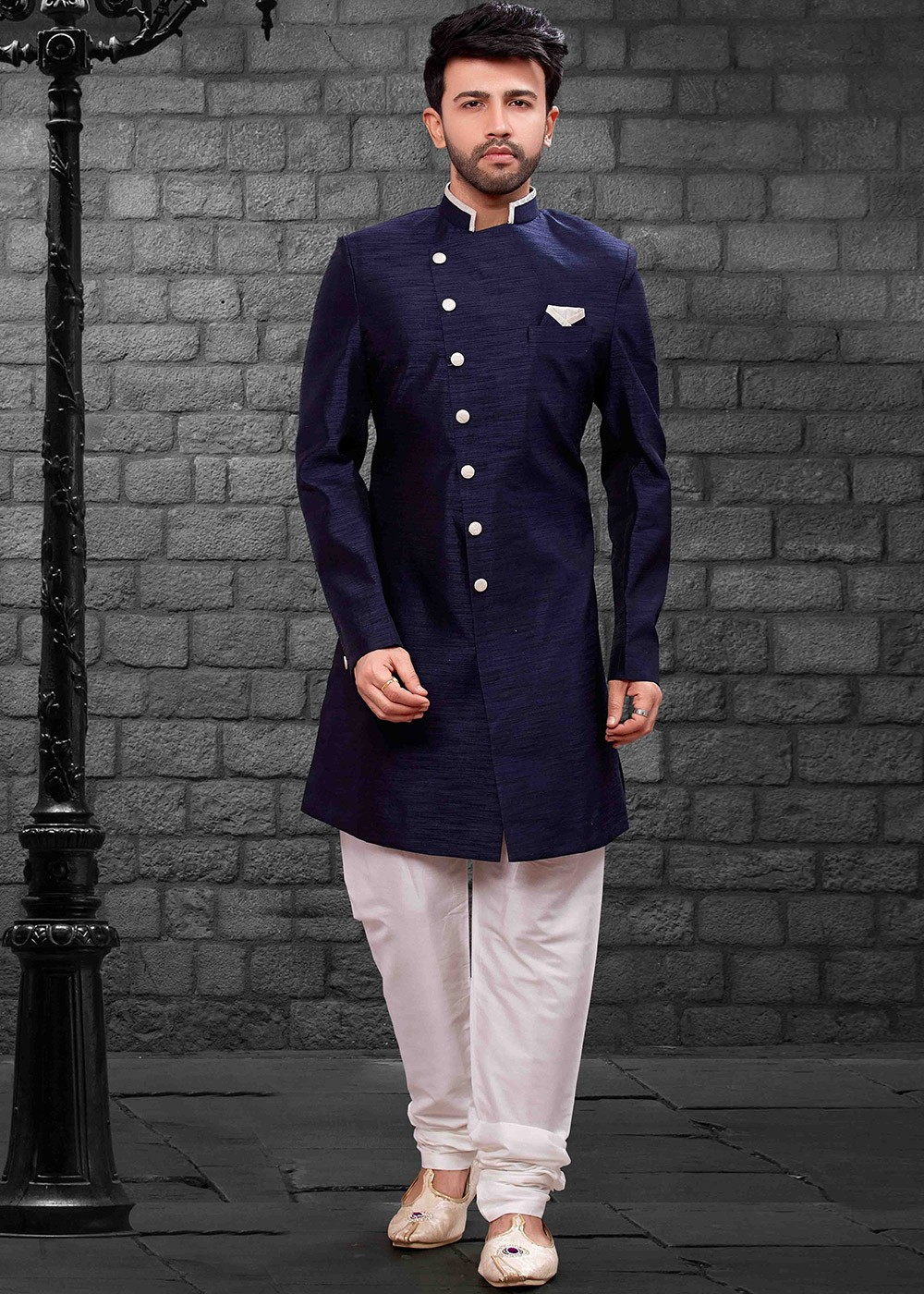 Navy Blue Readymade Indo Western