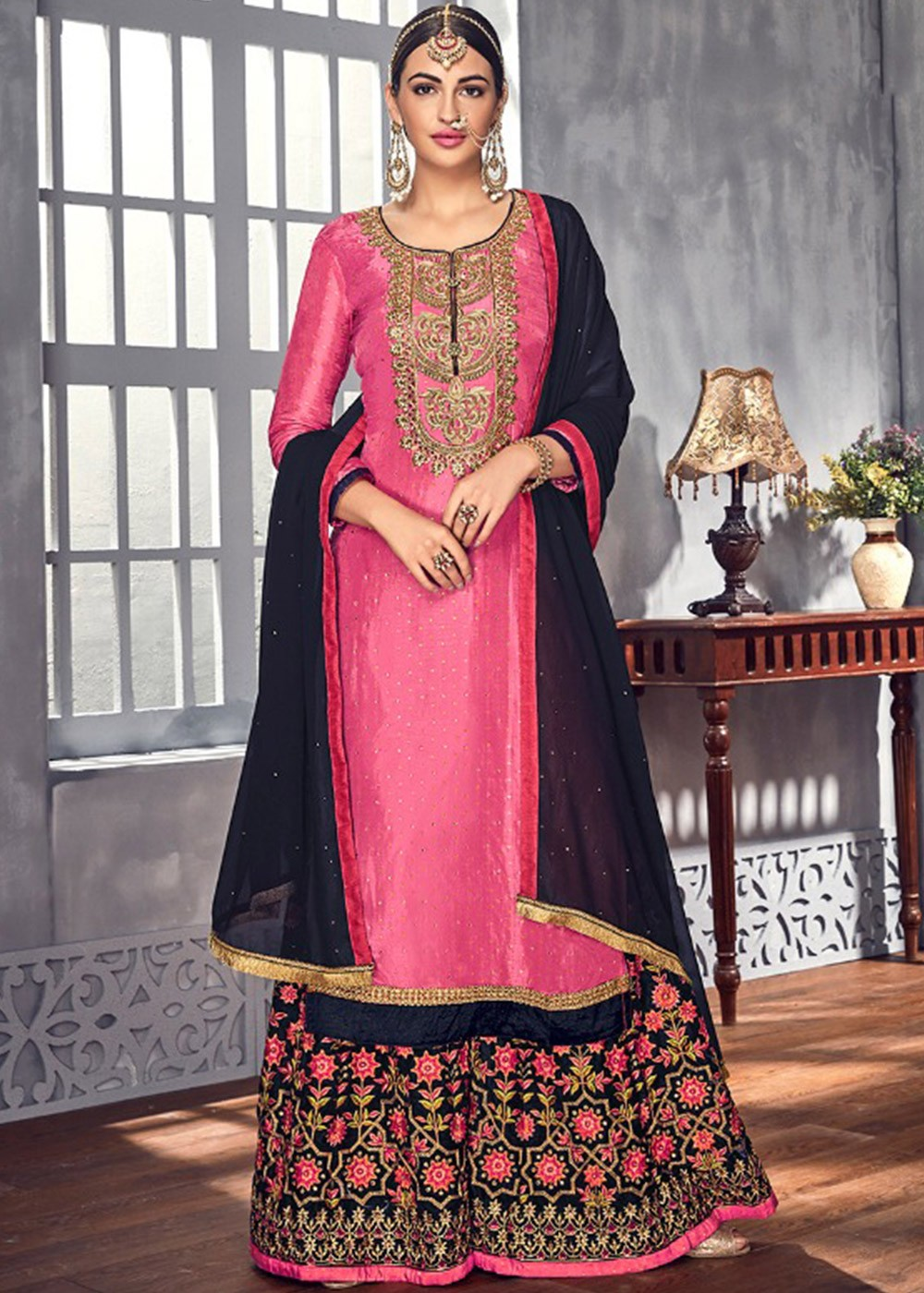 ddba38fcc1 Pink Heavy Embroidered Georgette Palazzo Suit Salwar Kameez 2473SL02