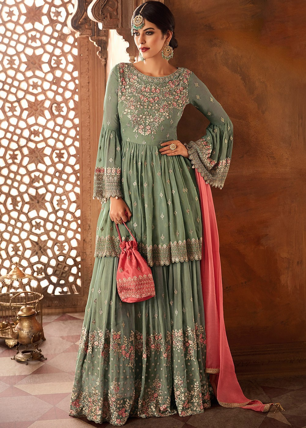 Green Embroidered Bell Sleeved Sharara Suit
